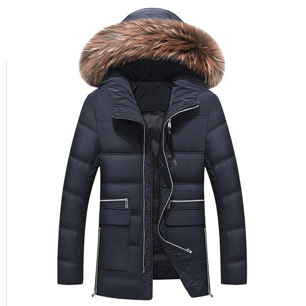 Мужские зимние толстые теплый пуховик истинный мех длинное пальто утка вниз стенд воротник съемный капюшон толстые куртки мужчины пуховик