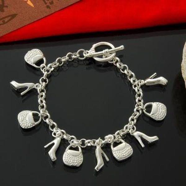 Moda Parti Avrupa Charm 925 ayar Gümüş Çanta Ayakkabı Kolye Bilezik Kadınlar Bayanlar Charm Bilezik Parti Takı