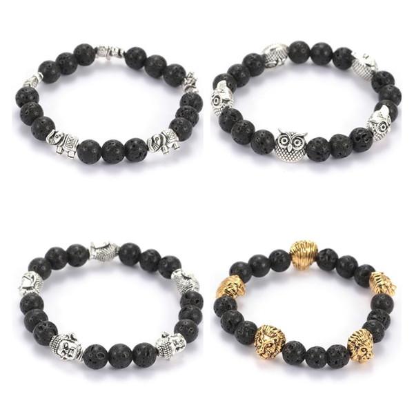 Natural Black Lava Stone Beads Elastic Bracelet Essential Oil Diffuser Bracelet Volcanic Rock Beaded Hand Strings
