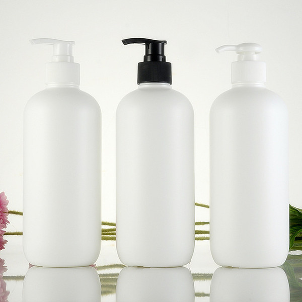 500ml empty white cylinder shape shampoo plastic bottles lotion pump HDPE cosmetic container Lotion plastic bottle