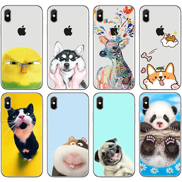 [TongTrade] Silicone TPU Luxury Coloured Painting Case For iPhone X 8 7 6s 5s Plus Cat Dog Wild Animal Galaxy S9 S8 S7 S6 Edge Plus Case