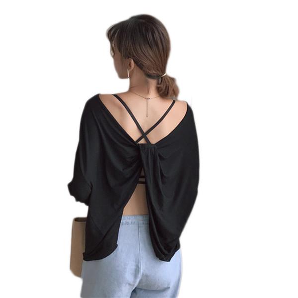 2018 New Backless Sexy Tops Summer T Shirt Women Sexy Long sleeve Open Back T-Shirt Bow Tops Tee Shirt Femme Camisetas Mujer