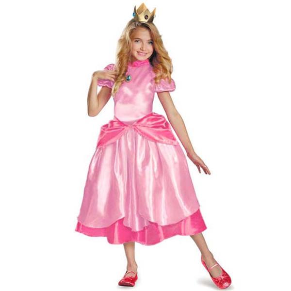 c7b49981afd1 Little Princess Peach Costume Super Mario Brothers Princess Cosplay Classic  Game Costume Kids Girl Halloween Fancy