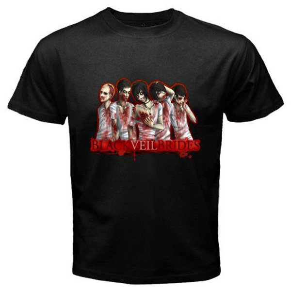 New BLACK VEIL BRIDES Logo Goth Metal Rock Band Men's Black T-Shirt Size S-3XL