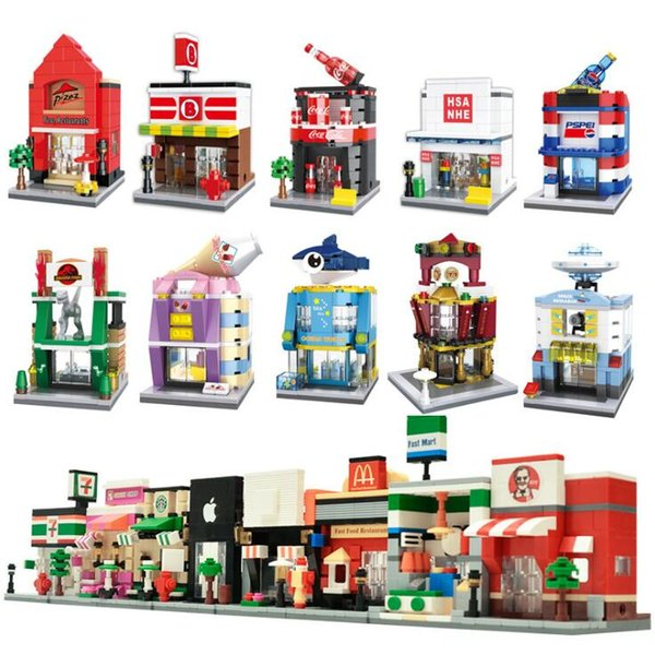 top popular LOZ building blocks building Diamond blocks model the Street view 3D puzzle kids toys educational toys intelligence DIY block 2019