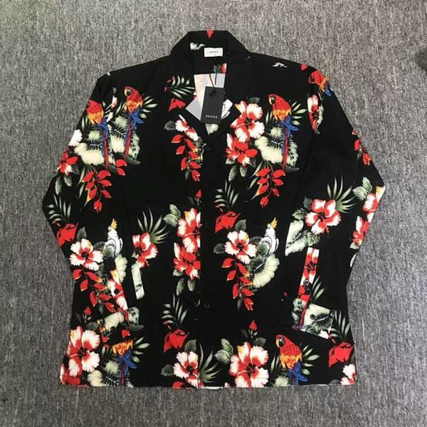 18ss rhude 1a: 1 qualidade mulheres homens manga longa papagaio flores camisas impressas hiphop hiwaii estilo homens camisas casuais camisas de praia