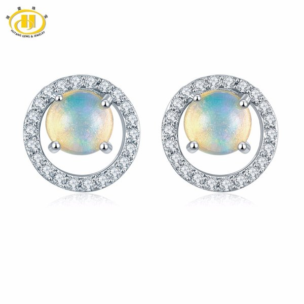 Hutang Genuine Gemstone Opal & Similar Diamond Solid 925 Sterling Silver Stud Earrings Fine Jewelry For Women's Gift New Arrival S923