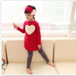 3 PÇS / SET calças crianças Conjunto de Roupas de bebê das Crianças menina meninas leggings roupas de inverno outono quente Pano ternos Projeto Do Coração