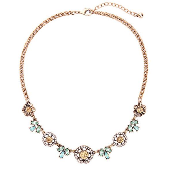 Encantador collar de flores de cristal antiguo color dorado cadena de aleación vintage choker collar joyería de las mujeres