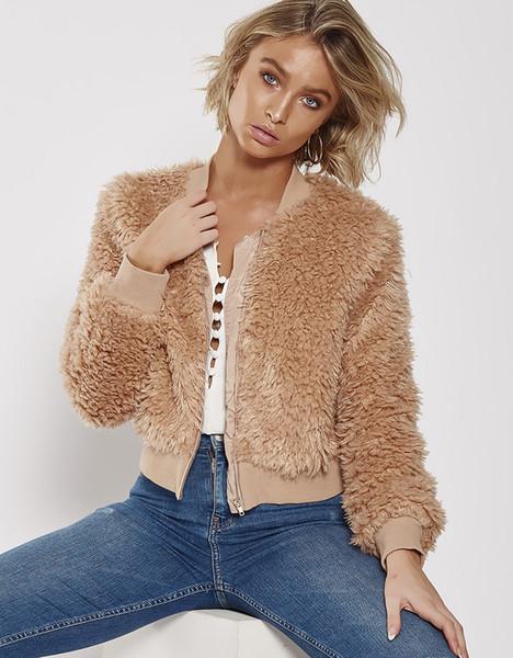 2018090607 Khaki shaggy splice donne giacca da baseball streetwear Autunno inverno caldo peluche teddy cappotto Femminile plus size soprabito