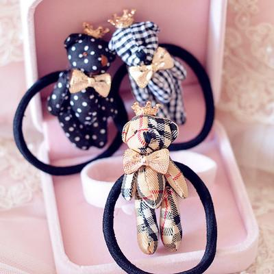 Cute, popular crown, bow, jeans, plaid, bear, hair and rubber band.
