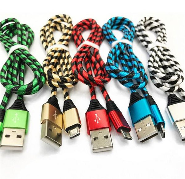 Fabric Nylon Braid Micro USB Cable Lead Unbroken Metal Connector charger Cord For Samsung s6 s7 for I Phone X 8 7 6 5