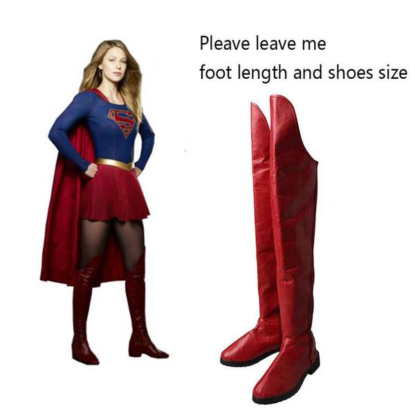supereroe rosso Supergirl Cosplay Kara Zor-El Danvers Stivali Scarpe rosse Supereroe Halloween Carnevale Cosplay Accessori per costumi Puntelli Adulto