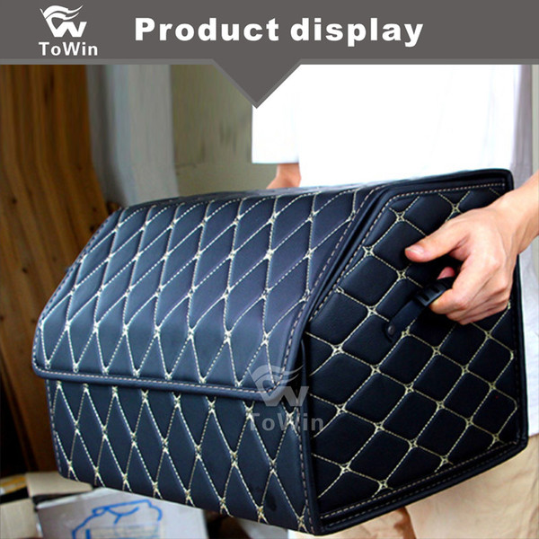 Multifunctional Car Trunk Storage Organizer Portable Big Capacity Collapsible Trunk Storage Box Bin with Handles Auto Interior Accessories