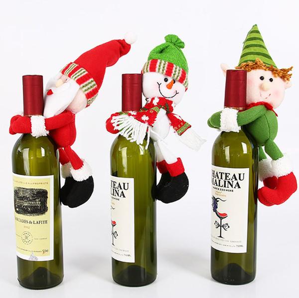 2018 tampa da garrafa de vinho de natal adorável abraço boneca de natal boneco de neve papai noel dinning mesa decorativa enfeites de natal da árvore