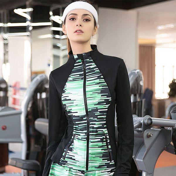 All'ingrosso-2016 nuove donne compressione giacca da corsa cappotto Fitness manica lunga maglietta maglie vestiti palestra giacche