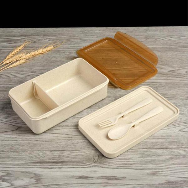 Boîtes à lunch de blé paille boîtes avec compartiments cuillère fourchette boîte à bento pour enfants Pique-nique alimentaire conteneur QW7425