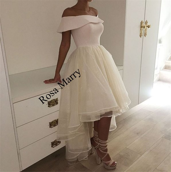 Sexy White High Low Cheap Prom Dresses 2018 A Line Off Shoulder Plus Size Short African Arabic Dubai 2K18 Formal Evening Party Gowns