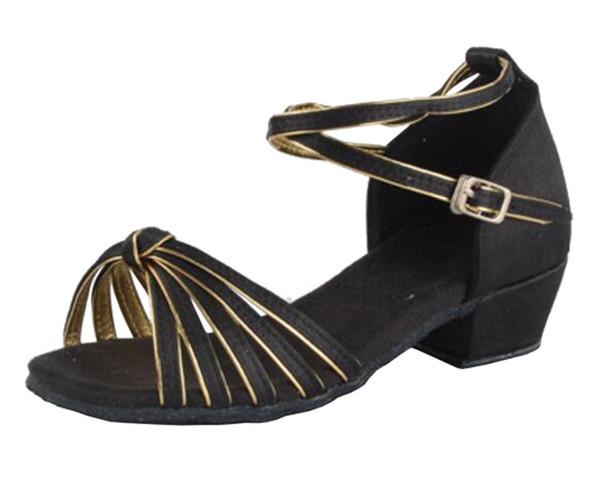 Girls Two-tone Knot Stripe Latin Dance Shoes Suede Sole Practice Ballroom Tango Salsa Dance Shoes Soft-sole Kids Wedding Dance Sandals