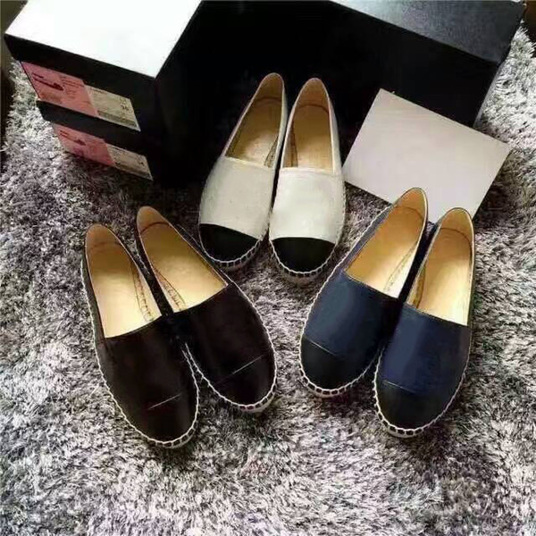 Designer Women Leather Canvas Espadrilles Top Quality Real Lambskin Women Flat Shoes Pearl Espadrilles Come with Box