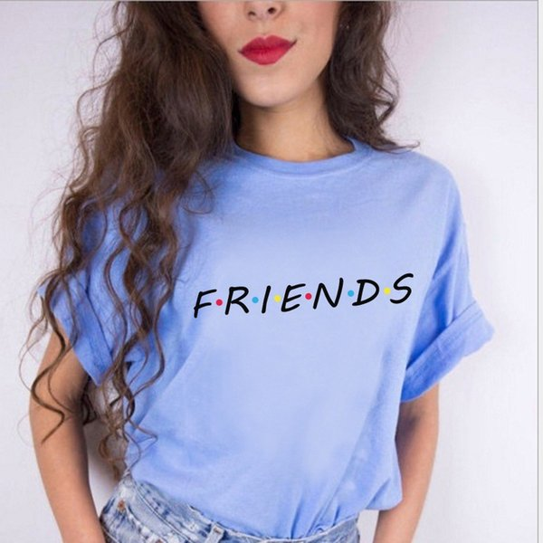 100% Algodão Mulheres Amigos TV camiseta Branca Womens T-shirt Tee menina Tshirt Steetwear Meninas Top Tees 2018 Verão Moda Tumblr