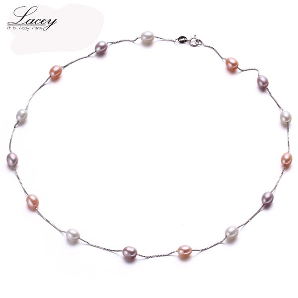 Muilt Natural pearl necklace 100% 925 sterling silver chain necklace, 6-7mm Real Cultured Freshwater pearl Jewelry for Women Y1892805