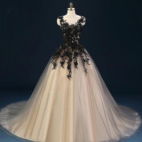Compre Vestidos De Novia Negro Vestido De Bola Tul Vestidos De Novia De Encaje Weding Vestidos De Novia Nupcial Vestido De Novia Vestido De Noiva A