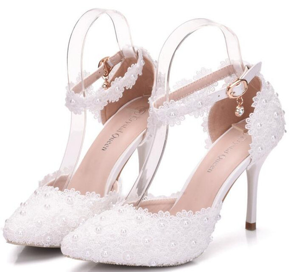 Elegant Lace Pearls Wedding Bridal Shoes For Bride Flowers Designer Sandals 9CM High Heels Pointed Toe White Pink Free Shipping High Quality