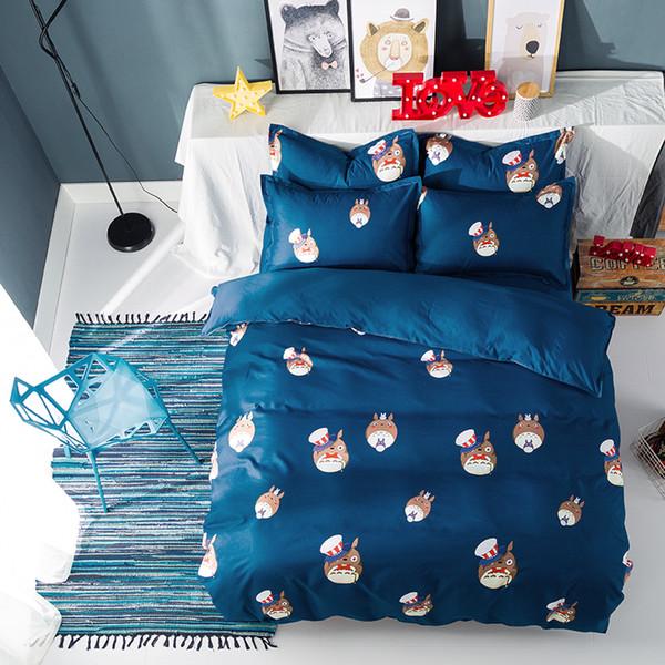 Conjuntos de cama Totoro Para Boy Girl Kid roupas de cama Twin full queen King Size fronha Azul escuro dos desenhos animados folha de cor Pura