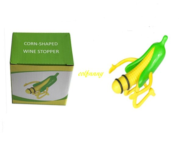 20pcs/lot Fast shipping Wine Stopper Corn Wine Cork Bottle Plug Creative Funny Bar Tools with retail box For Wedding Party gift