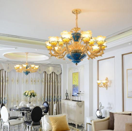 Regrom Luxury Chandeliers Lighting Led Iron Chandelier Country French Style Hanging Lights Luminaries Dining Room Coffee Villa
