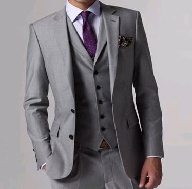 Hot Sale Light Grey Groom Tuxedos High Quality Man Wedding Suit Two Button Slim Fit Men Dinner Party Prom Blazer(Jacket+Pants+Tie+Vest)216