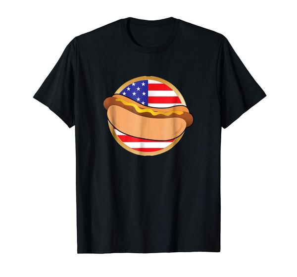 Sıcak Köpek Gömlek Vatansever Amerikan Bayrağı T Gömlek Yaz Abd marka Pamuk Erkekler Giyim Erkek Slim Fit T Gömlek Anime Metin