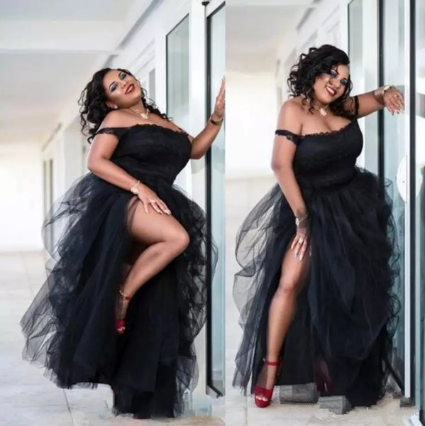 Black Plus Size Prom Dresses Side Split Cheap Off The Shoulder Tutu Tulle Party Dresses Women Formal Wear Sexy African Evening Pageant Gowns