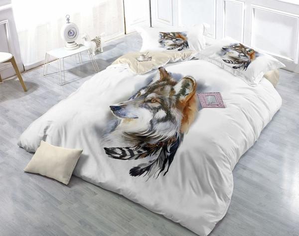 럭셔리 3 차원 늑대 침구 세트 퀸 침대 시트 / 장착 된 시트 pillowcase 만화 동물 깃털 이불 커버 좋은 품질의 이불