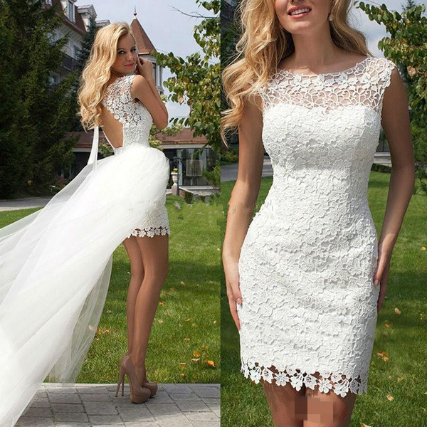 top popular Simple Full Lace Wedding Dresses with Detachable Train New Scoop Short Mini Backless Short Wedding Dresses Bridal Gowns 2019