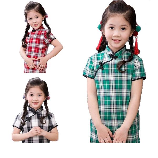 Ekose Bebek Kız Elbise Çocuk Qipao Giysi Çin Sping Festivali Cheongsam Kıyafetler 100% Pamuk Chi-Pao Elbise 80-150 CM Gömlek Etekler