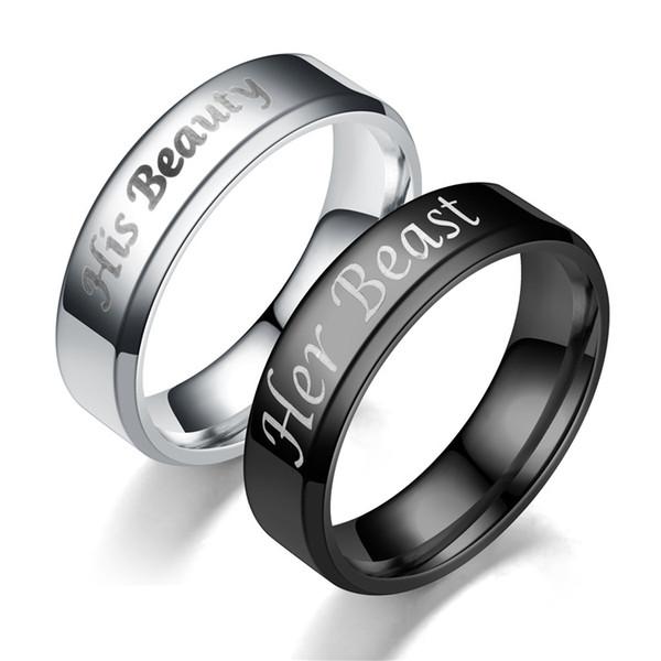 Joyería Fina Su Bestia Su pareja Beaty anillos de Acero Inoxidable Artículos de Fiesta Regalo joyería de boda para mujeres de moda hombres 080282
