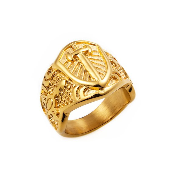 New Stainless Steel Gold color Armor Shield Ring Knight Templar Crusade Cross Sword Jewelry Medieval Signet Mens Rings