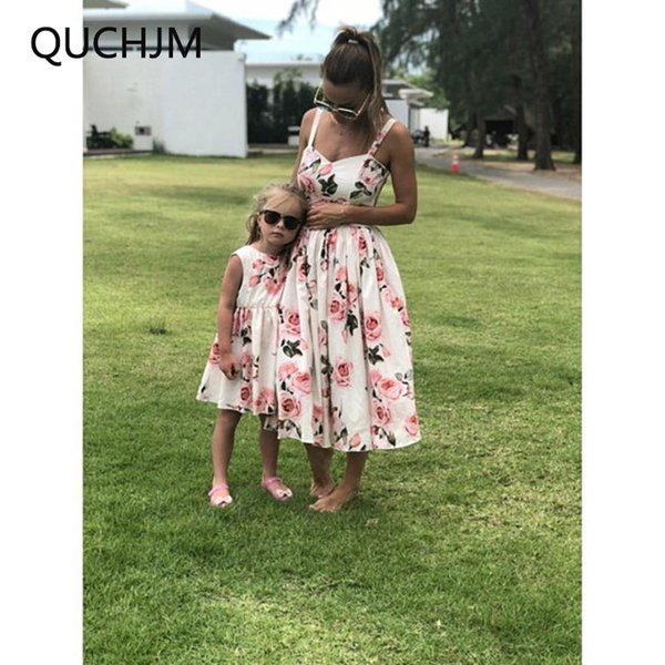 2018 New Hot Family Matching Mother And Daughter Clothes Sleeveless Floral Dress For Mommy Me Kids Girls baby Mom Daughter Dress