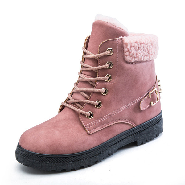 Rivet Short Tube Flat Snow Boots Women Large Size Plus Velvet Warm Cotton Shoes New Black Khaki Pink Cotton Shoes