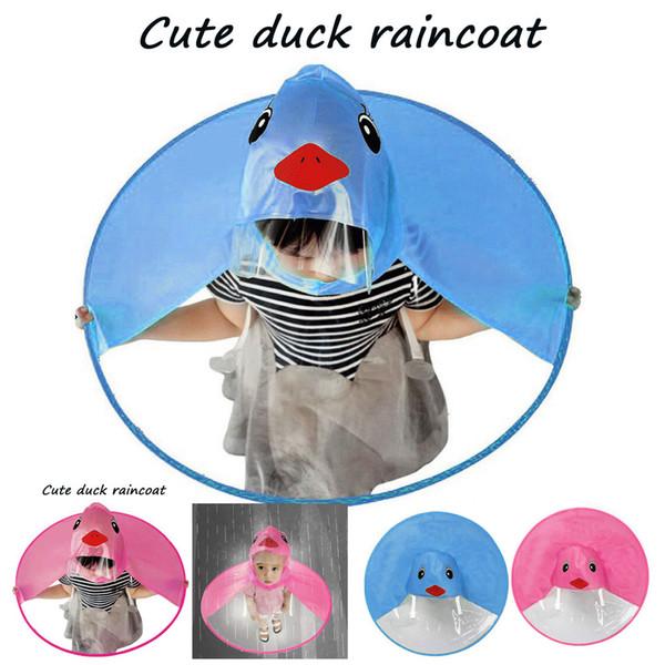 Cartone animato carino ragazze ragazzi bambini blu / rosa cappotto pioggia UFO bambini cappello ombrello mani magiche libero impermeabile Spedizione gratuita * 65