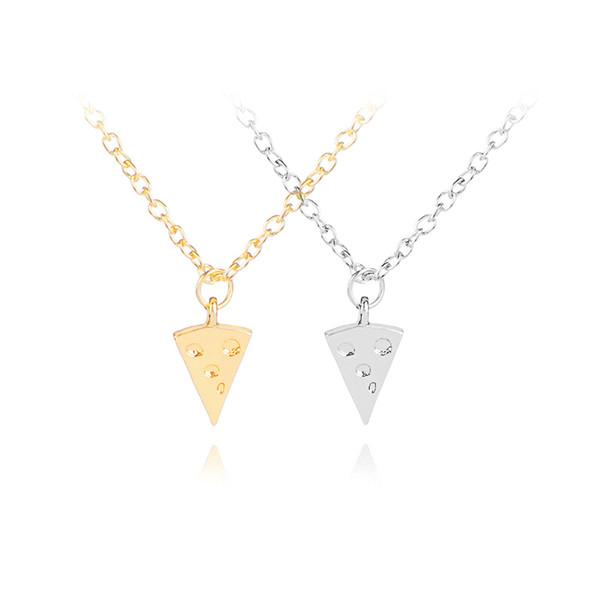 fastfood Necklaces girls Cheesecake charm Necklaces hollow Cheese cake collar jewelry for daughter birthday gift Triangle bread