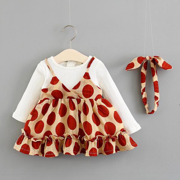 2018 осень новорожденных девочек новая мода с длинным рукавом хорошее качество горошек хлопок принцесса платье с оголовьем 1-3 лет !