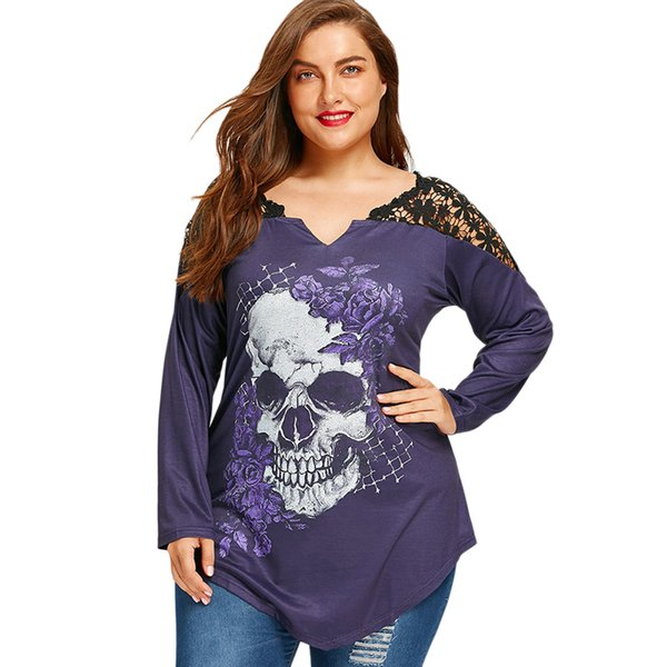 Plus Size 5XL Lace Crochet Skull Print Asymmetrical Top Graphic Tees Women Sexy T Shirts Long Sleeve Loose T-shirt
