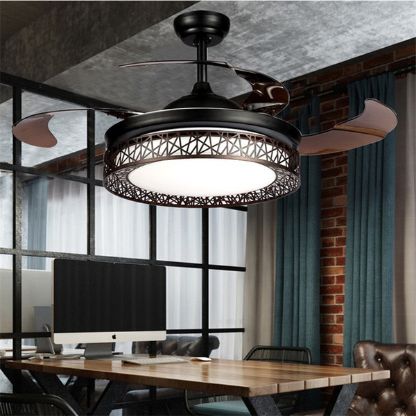 Modern led ceiling fan light lamp timing remote control frequency conver ion motor chandelier light invi ible pendant lamp lighting
