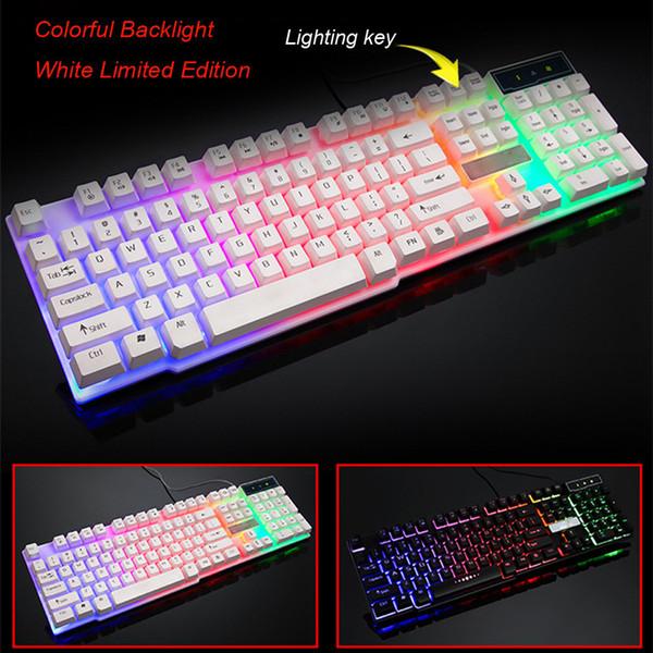 Clavier de jeu filaire USB Rainbow LED rétro-éclairé Clavier de jeu illuminé pour ordinateur de bureau 20J