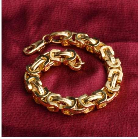 Sales Promotion!Men's Bracelets Gold Chain Link Bracelet Gold Filled 9mm Width Heavy Chain Byzantine Womens Mens Bracelet Jewely