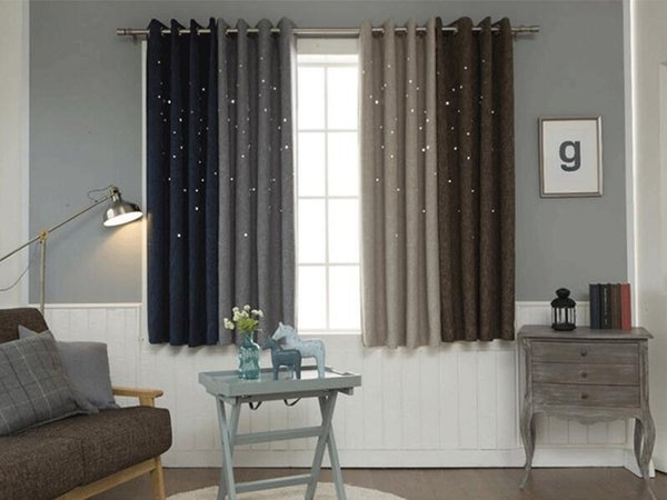 2019 Hollow Stars Blackout Window Curtains For Living Room Kids Boys  Bedroom Grey Brown Coon Linen Fabric Curtain Drapes Cortinas From  Industrial, ...