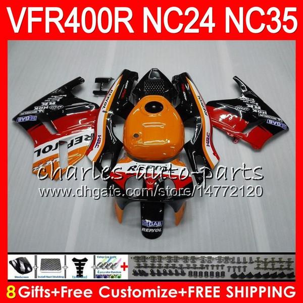 RVF400R For HONDA VFR400 R NC24 V4 VFR400R 87 88 94 95 96 81HM.1 RVF VFR 400 R NC35 VFR 400R 1987 1988 1994 1995 1996 Fairings Repsol orange